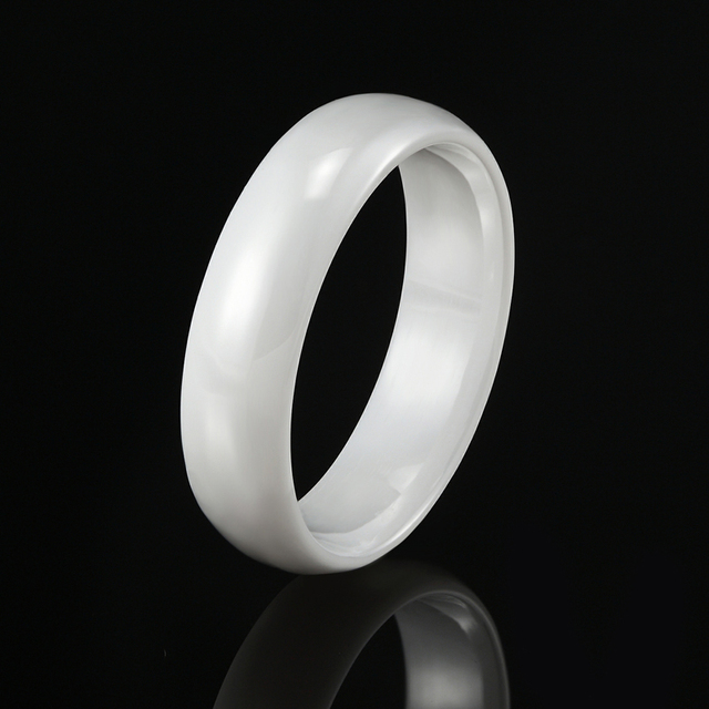 Женское керамическое кольцо anillo черное белое гладкое с радиусом