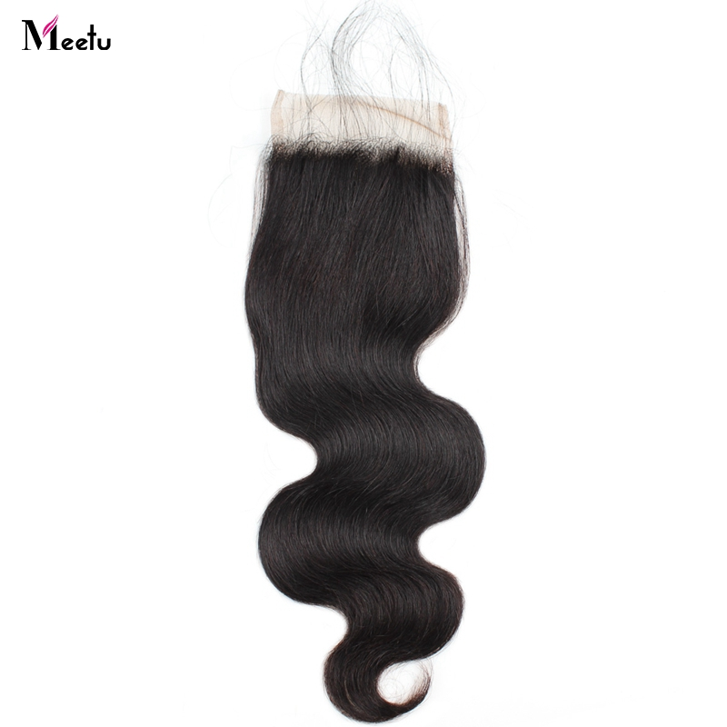 Meetu Malaysian Body Wave Closure Non Remy Free/Middle/Three Part Human Hair Closure 4x4 Inch Swiss Lace Closure With Baby Hair