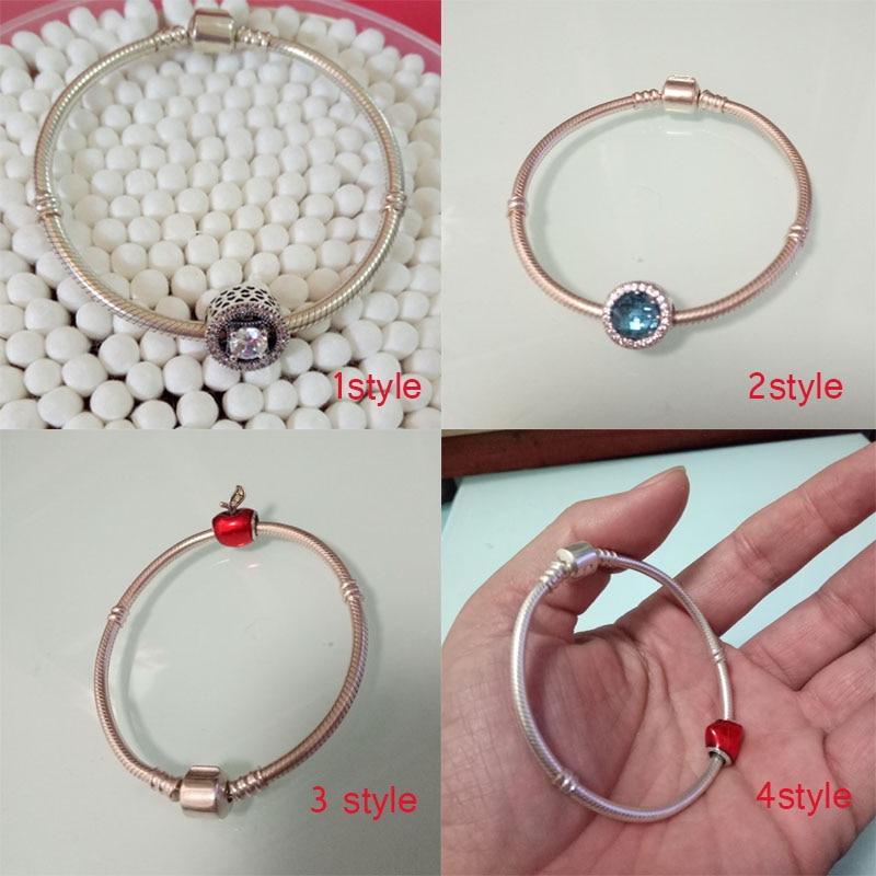 Marque de luxe Femmes Bracelet 925 Unique Cristal Silver Charm Bracelet pour les Femmes BRICOLAGE Perles Bracelets & Bangles Bijoux Cadeau