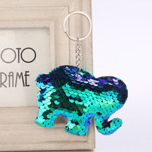 Lovely Sequins Elephant Key Chain Fashion Animal Mermaid Keychain for Women Handbag Keyring gift Decorative