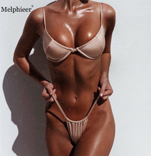 Melphieer Shiny Bikini Underwired Push up Swimsuit Mini Swimwear Biquini Bathing Suit Swimming for Women maillot de bain
