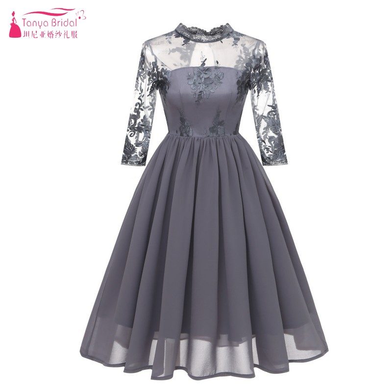 Three Quarter Length Sleeves A Line Lace Chiffon   Cocktail     Dresses   Vintage Party   Dress   Homecoming   Dresses   Gown Cheap DQG607