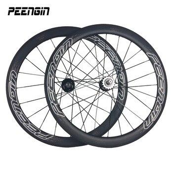 Rueda de bicicleta PEENGIN de 23mm de ancho, rueda de carbono de 50mm, ruedas de carbono Clincher vía única de velocidad, juego de ruedas plegable