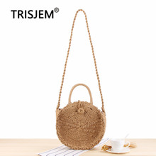 Round Paper Rope Hand-woven Women's Messenger Bag Available In Three Sizes PU Leather Girl Shoulder Bag Female Crossbady Bags