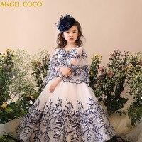 Детские вечернее платье сине белые принцесса Puff халат Длинные платья платье для девочек карнавальные костюмы для детский халат Fille