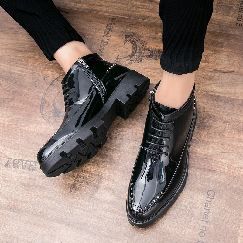 CNFIIA Men Shoes Moccasins Designer Shoes Male Black High Top Patent Leather Shoes 2018 Autumn New
