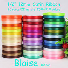 "Free shipping (25 yards/roll) 1/2"" 12mm Single Face Satin Ribbon Webbing Wedding Party Festive Decaration Gift Christmas Ribbon(China)"