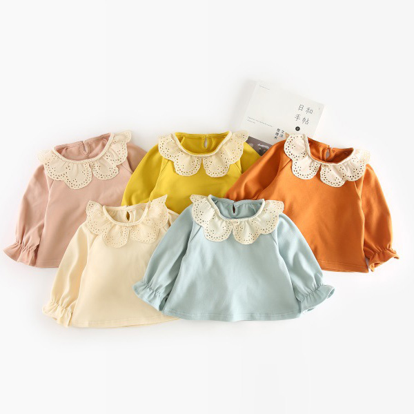 Girls spring autumn t shirts kids peter pan collar long sleeve cotton t-shirt baby casual beige yellow pink blue brown color 1-4