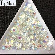 TopStone J3 # желе кристалл белый AB Цвета 14 Cut граней смолы Круглые Flatbacks Дизайн ногтей 3D Камни клей на не исправление Стразы