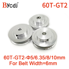 1/5/10pcs 60 Teeth GT2 Timing Pulley Bore 5mm 6.35mm 8mm 10mm for width 6mm GT2 Timing Belt Small Backlash 2GT Belt 60Teeth 60T gt2 2pcs 20 teeth bore 5 8 mm pulley with 2m pu with steel gt2 6mm open timing belt 2gt timing belt 6mm width for 3d printer