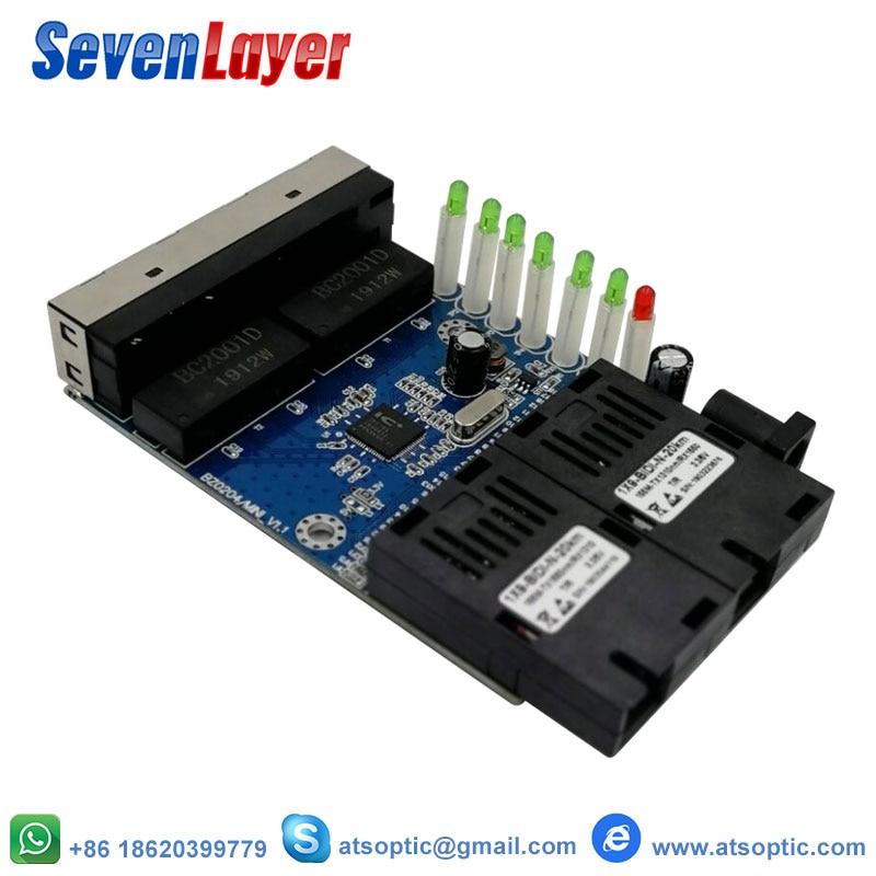 Ethernet switch  Fiber Optical Media Converter Single Mode 4 RJ45 and 2 SC fiber Port 10/100M PCBAEthernet switch  Fiber Optical Media Converter Single Mode 4 RJ45 and 2 SC fiber Port 10/100M PCBA