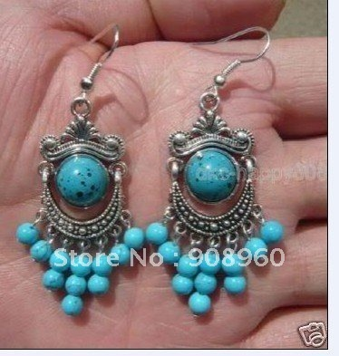 Wholesale  tibet silver Round blue stone earring 4pc/lot fashion jewelry #08
