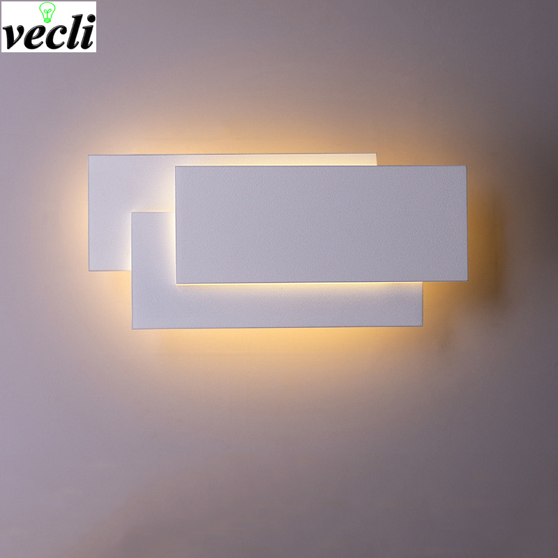Modern Creative 12w led wall lamp modern living room aisle staircase square lamps bedroom bedside Black/white wall light