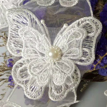 5PCS Beautiful Ivory Embroidered Butterfly Shape Lace Trim Fabric Neckline Collar Applique Embroidery Sewing Accessories