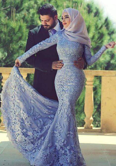 Blue Muslim Evening Dresses 2019 Mermaid Long Sleeves Appliques Lace Scarf Islamic Dubai Saudi Arabic Long Elegant Evening Gown