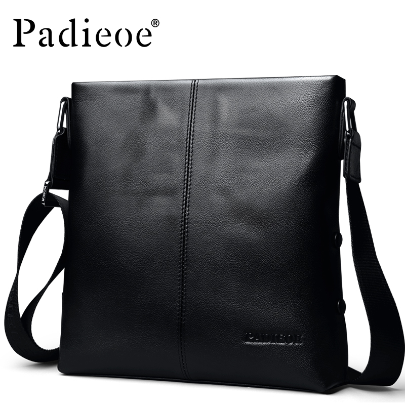 Padieoe Brand Men Bag Genuine Leather Mens Messenger Bags Business Small Crossbody Shoulder Bag