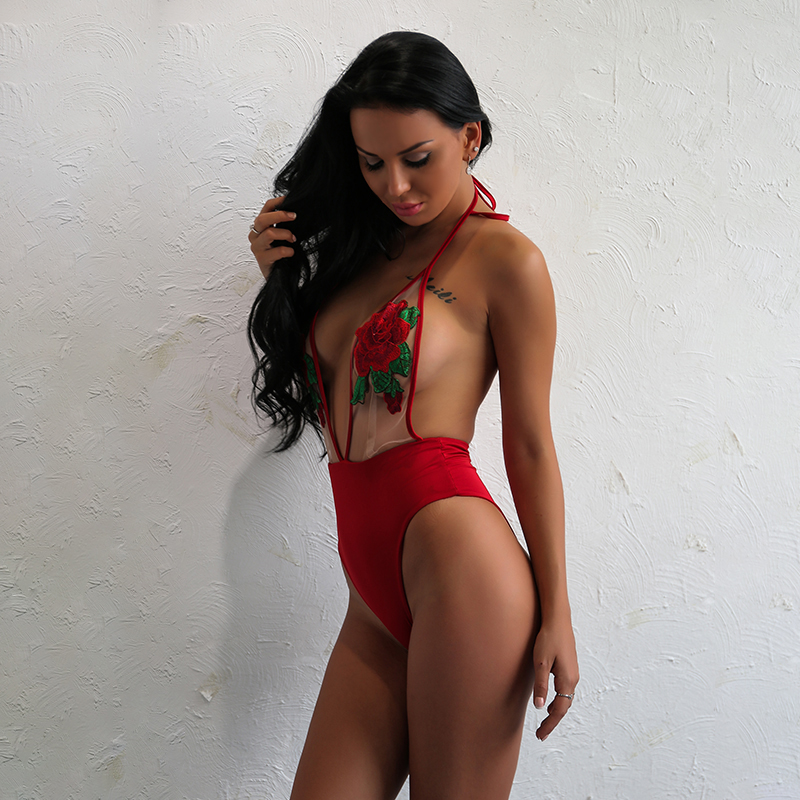 398d8f2b5b24d Brand Sexy Women Gataway Halter Monokini Lace Embroidery Belly Swimsuit Red  Halter Beach Fabulous Backless Bathing Suit In Stock-in Bikinis Set from  Sports ...