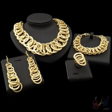 Yulaili Free Shipping Fashion Round Design Pure Silver Gold Color Dubai Jewelry Set Anniversary Four Jewelry Sets