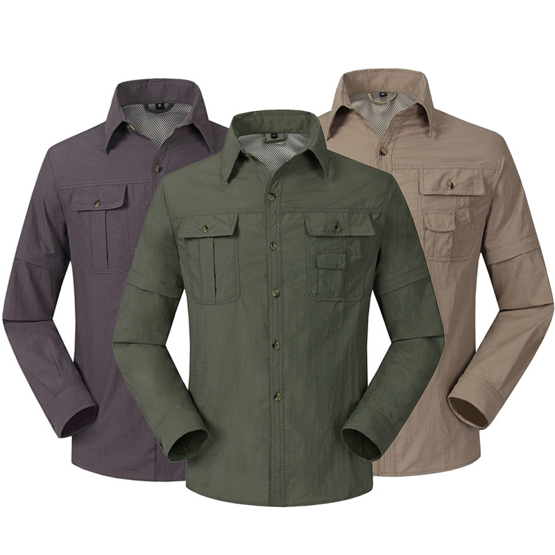 Quick Dry Outdoor Men's Summer Shirts Breathable Removable Sports Fishing Trekking Hiking Male Hunting Shirt