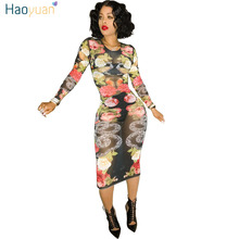 HAOYUAN Sexy Dress Club Wear Women 2017 Autumn O Neck Long Sleeve Floral Mesh Dress Casual See Through Vestidos Bodycon Dress