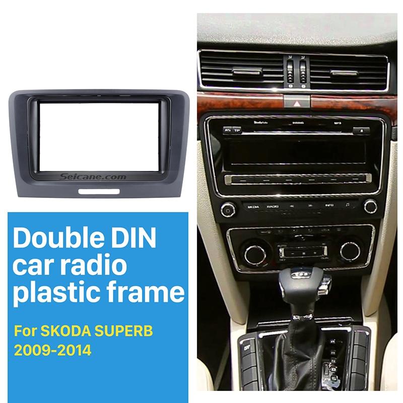 Seicane Belle Double Din Autoradio Fascia pour 2009 2010 2011-2014 Skoda Superb Dash CD DVD Cadre Surround Panneau Montage adaptateur