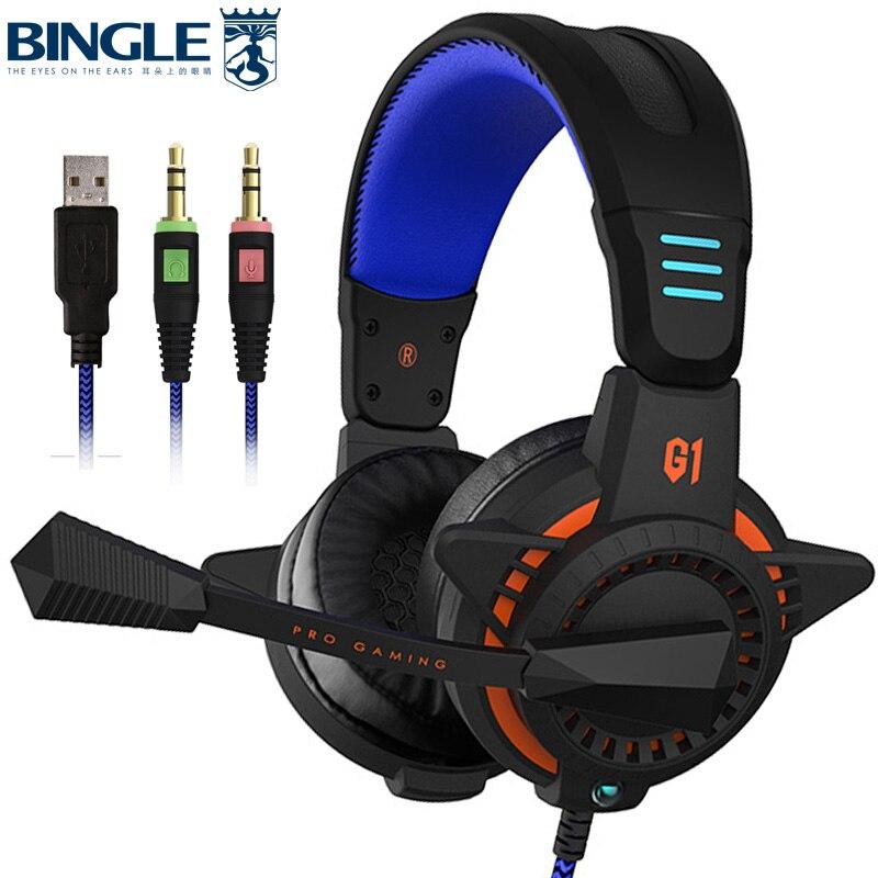 Bingle G1PLUS Confortevole Fit PC PS4 Usb Gaming Headset Con Microfono Ha Condotto La Luce Della Cuffia di Gioco Per Xbox One 360 Playstation