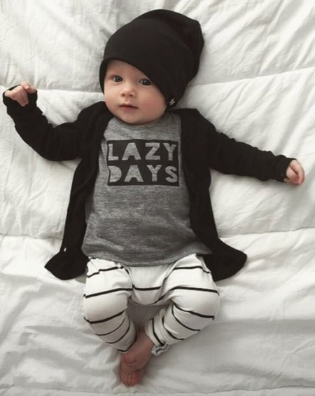 2017 Baby clothes boys girls clothing kids set T-shirt+striped pants sets fashion Infantil cotton roupas de bebe clothes 4M-24M