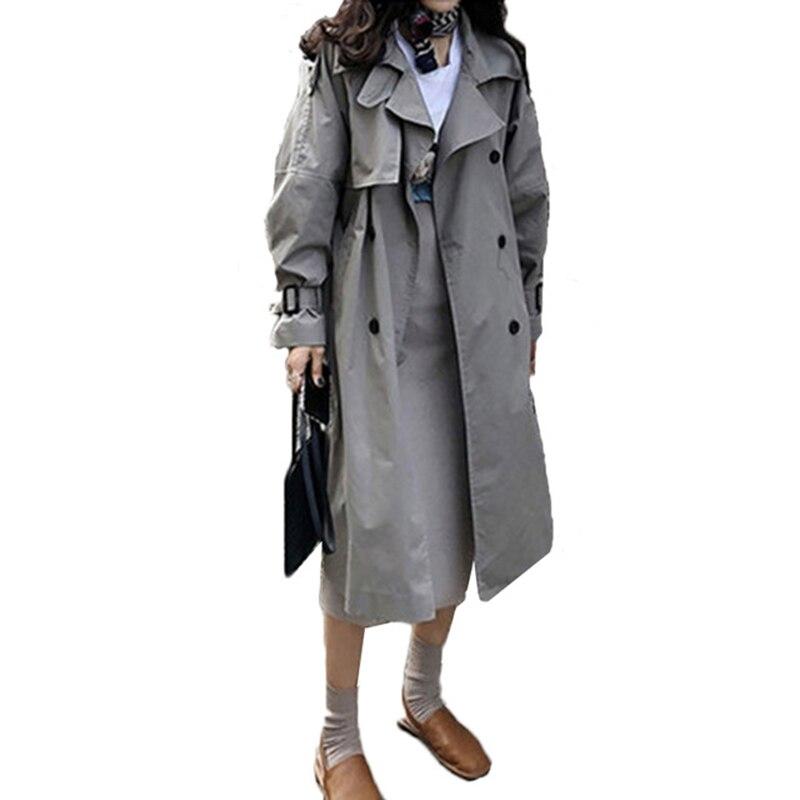 Abrigos printemps automne 2018 mode coréenne Double boutonnage mi-long Trench Coat Mujer lâche ceinture grande taille coupe-vent Outwear - 2