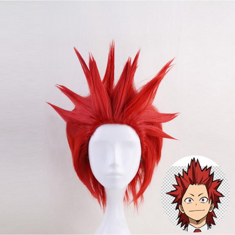 Boku no Hero Academia Eijiro Eijirou Kirishima Red Wig Cosplay Costume My Hero Academia Men Women Hair Halloween Party wigs