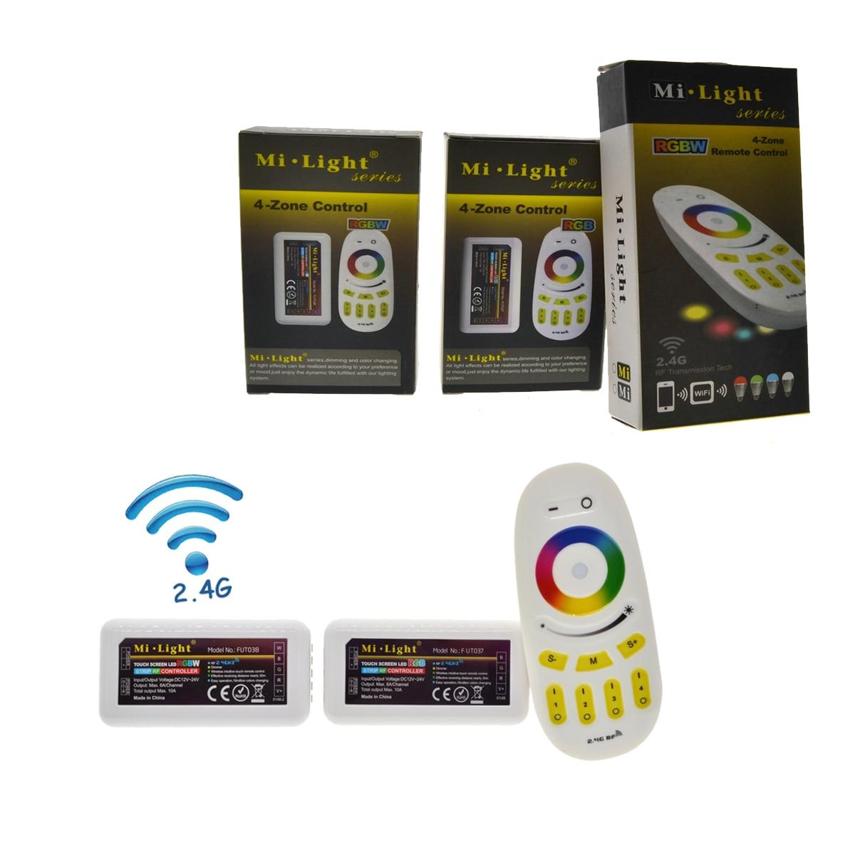 Mi Lumière RF 2.4G RGBW Tactile Télécommande + 4 pièces RVB RGBW Contrôleur De Bande Pour DC12-24V RVB RGBW LED Bande