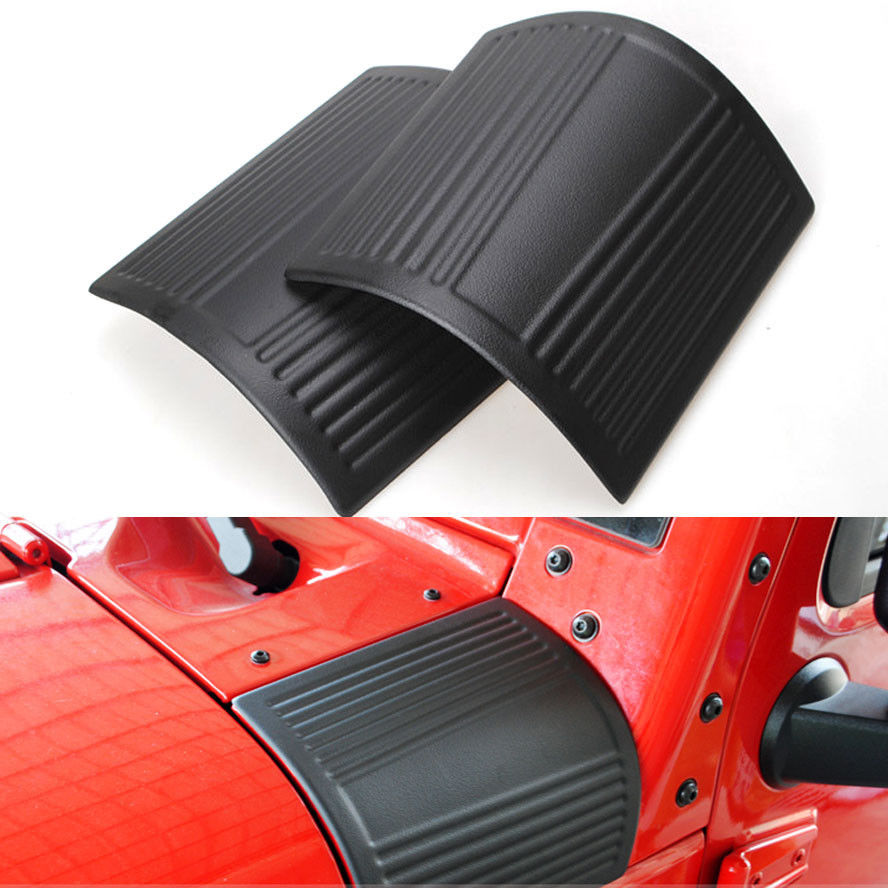 2x Car Styling Side Body Armor Hood Cowl Cover Protector Sticker Black ABS Fit For Jeep Wrangler JK Unlimited Sahara 2007-2015