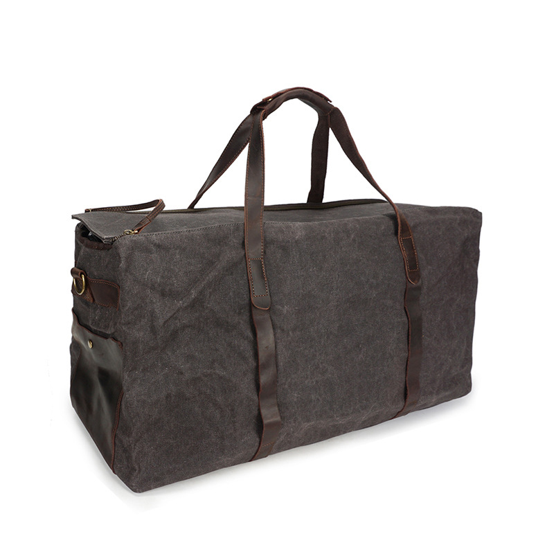 Oversized Canvas Leather Weekend bag Overnight Duffel Bag Travel Tote