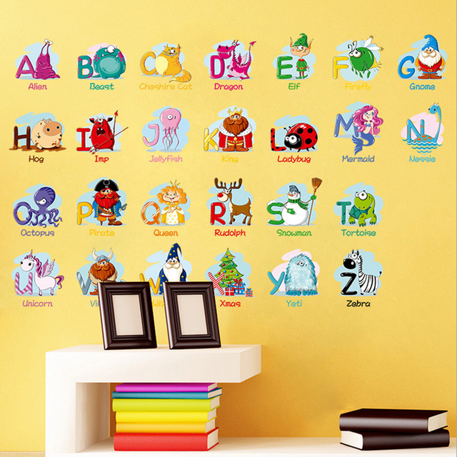 1X kawaii children puzzle early learning English letters room ...