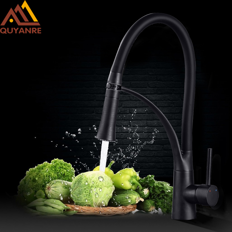 Quyanre Black LED ORB Kitchen Faucet Pull-out Sprayer 360 Rotation Single Handle Mixer Tap Sink Faucet Black Rubber Faucets