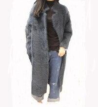 Подлинная трикотажные норки кашемировый свитер Женщины Чистый кардиган вязать куртка модная зимняя одежда длинные пальто с мехом