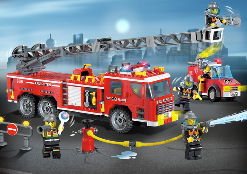 Enlighten Building Block Fire Rescue Scaling Ladder Fire Engines 5 Firemen 607pcs Educational Brick Toy Boy Gift-No Box image