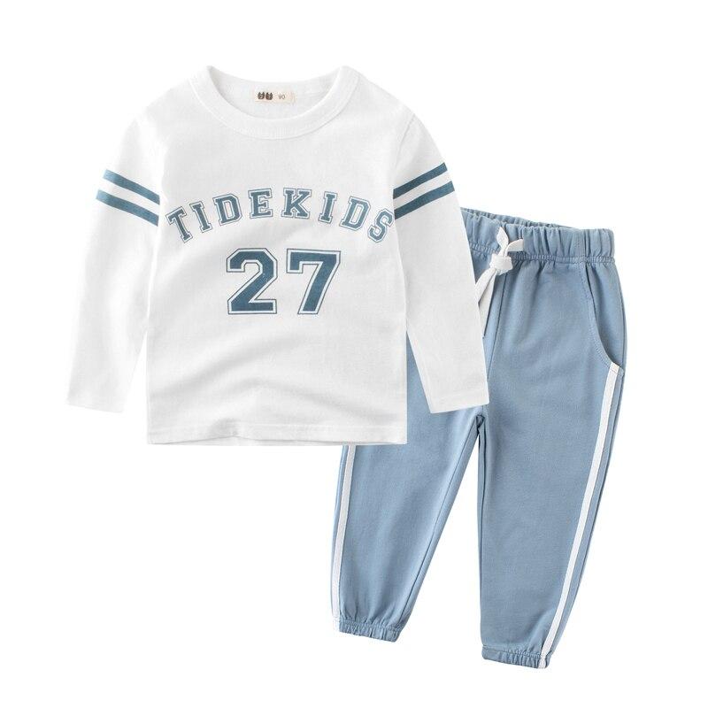 2018 חדש בני בגדי סטי אביב סתיו 100% כותנה ארוך שרוול ספורט ילדי T חולצות ומכנסיים 2-8 שנים ילדי אימונית