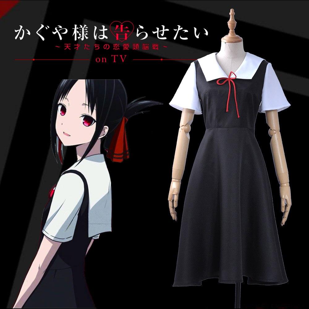 Anime Kaguya-sama Love is War Kaguya Shinomiya Cosplay Costume Short Sleeve Black Dress for Women 2019 Sailor suit