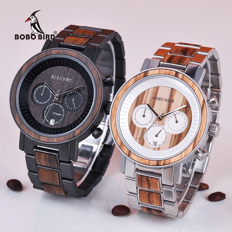 BOBO ptak zegarek mężczyzn ze stali nierdzewnej drewniane zegarki chronografu mężczyzna Sport wodoodporne zegarki wojskowe Relogio Masculino V R01 w Zegarki kwarcowe od Zegarki na  Grupa 1