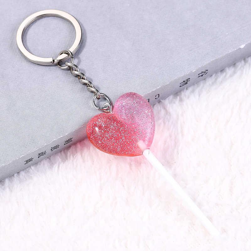 1 pc bonito coração lollipop chaveiro flatback resina pingente encantos resina sobremesa chaveiro para mulher