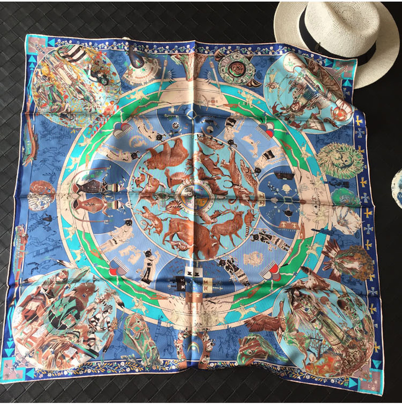100 Silk Twill Scarf Women Luxury Brands Wraps Head Scarves Shawl Hijab Poncho Foulard Ancient Tribe