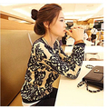 2017 new fashion women sweater blazer blue and white porcelain printed dlinnye- loose sleeve sweater
