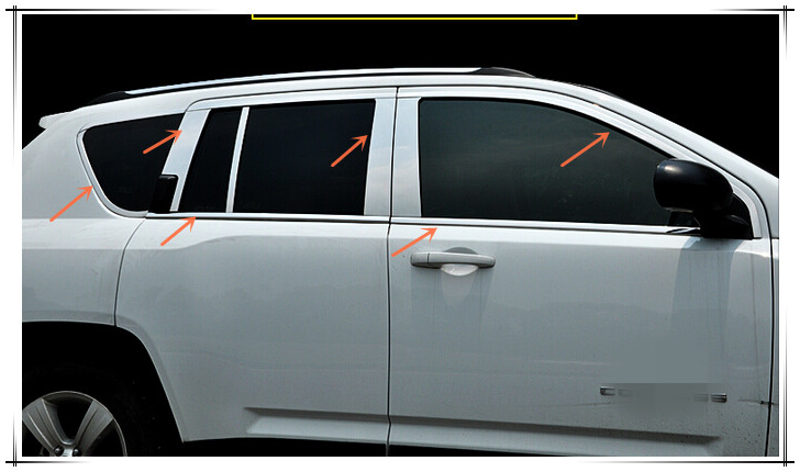 New stainless steel Window Frame upper+bottom+central pillars cover 18pcs For Jeep Compass 2015 2014 2013 2012 2011