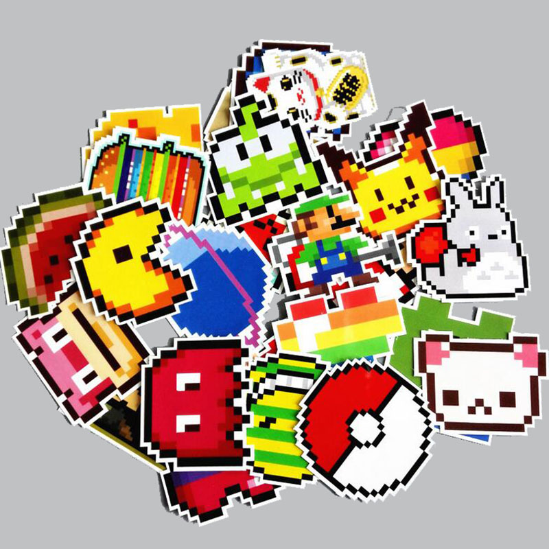 25pcs Pixel Air Cartoon Pokemon Graffiti Stickers Car Stickers Laptop Case Pvc Waterproof Sticker Children'S Stationery Stickers