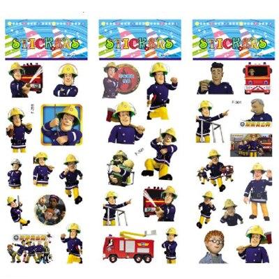 3 feuilles/set Pompier Sam autocollants pour enfants décoration murale sur ordinateur portable mignon dessin animé mini 3D mousse autocollant sticker frigo doodle