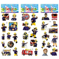 3 hojas/juego Fireman Sam pegatinas para los niños En Casa decoración de la pared en la computadora portátil de dibujos animados lindo mini 3D foam sticker decal fridge garabato