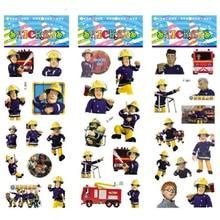 3 ark / set Fireman Sam klistermärken för barn Hem väggdekoration på bärbar dator söt tecknad mini mini skum klistermärke dekal kylklotter
