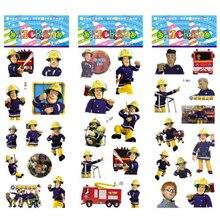 Купить с кэшбэком 3 sheets/set Fireman Sam stickers for kids Home wall decor on laptop cute cartoon mini 3D foam sticker decal fridge doodle