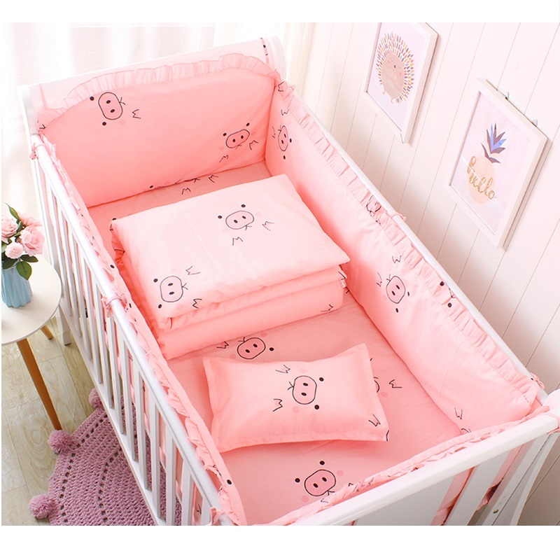 New Arrival Star Striped Crib Bed Linen Kit, Cotton Baby Bedding Set Includes Bumpers+Bed Sheet, Crib Bedding Set For Girl Boys
