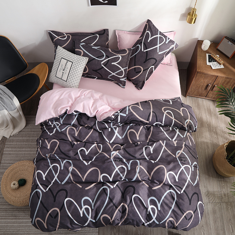 Bedding Set luxury Pink love 2/3/4pcs Family Set Sheet Duvet Cover Pillowcase Boy Room flat sheet, No filler 2019 bed set(China)